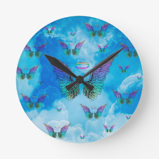 Angel Wings and Clouds Round Clock