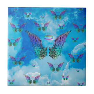 Angel Wings and Clouds Small Square Tile