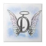 Angel Wings and Halo Monogram Letter D Ceramic Tile