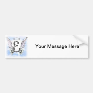 Angel Wings and Halo Monogram Letter E Bumper Sticker