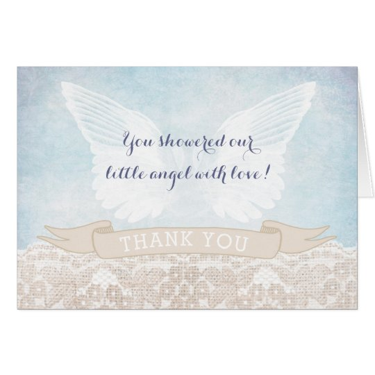 Angel Wings Baby Shower or Baptism Thank You
