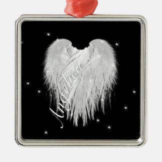 ANGEL WINGS 'Believe' Heart Black Starry Christmas Ornament