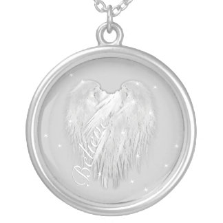 ANGEL WINGS 'Believe' Magic Heart Silver Plated Necklace