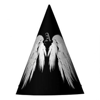 ANGEL WINGS Black Custom Monogram Party Hat
