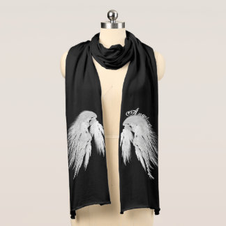ANGEL WINGS Custom Name Black Scarf