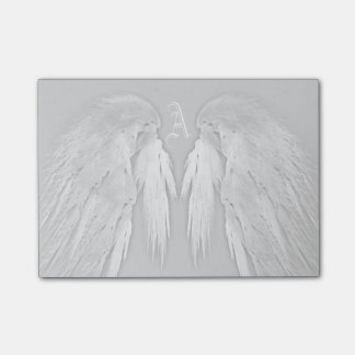 ANGEL WINGS Gray Touched Feathers Custom Monogram Sticky Note