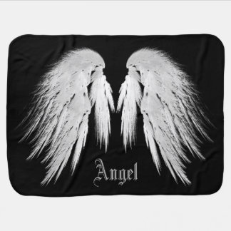ANGEL WINGS Gray Touched Feathers Custom Name Baby Blanket