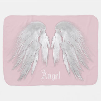 ANGEL WINGS Gray Touched Feathers Custom Name Pramblankets