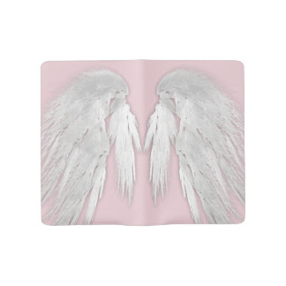 ANGEL WINGS Gray Touched Feathers Customizable Large Moleskine Notebook