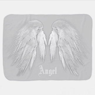 ANGEL WINGS Grey Touched Feathers Custom Name Receiving Blanket