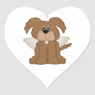 Angel Wings Halo Puppy Dog 2 Heart Sticker