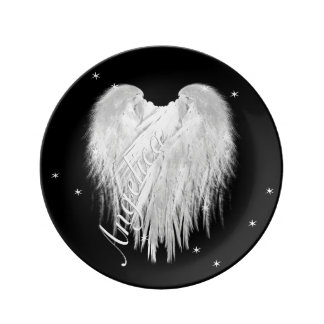 ANGEL WINGS Heart Black Starry Plate