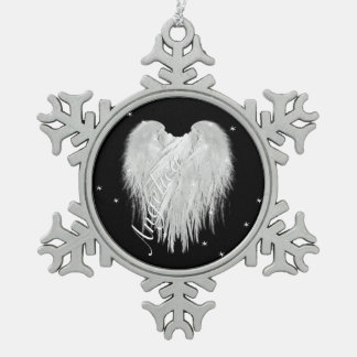 ANGEL WINGS Heart Black Starry Snowflake Pewter Christmas Ornament