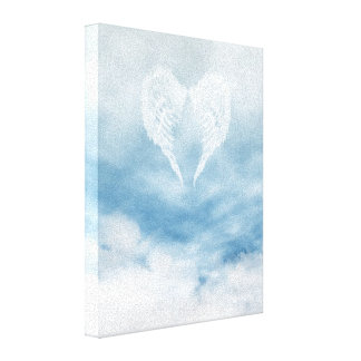 Angel Wings in Cloudy Blue Sky Canvas Print