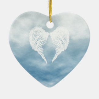 Angel Wings in Cloudy Blue Sky Christmas Ornament