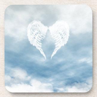 Angel Wings in Cloudy Blue Sky Coaster