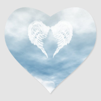 Angel Wings in Cloudy Blue Sky Heart Sticker