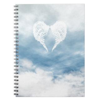 Angel Wings in Cloudy Blue Sky Notebooks