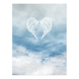 Angel Wings in Cloudy Blue Sky Postcard