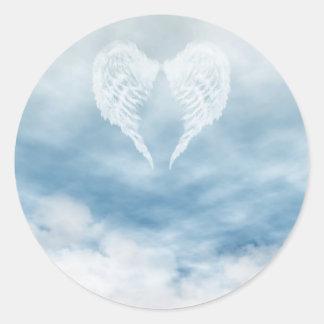 Angel Wings in Cloudy Blue Sky Round Sticker
