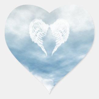 Angel Wings in Cloudy Blue Sky Heart Sticker