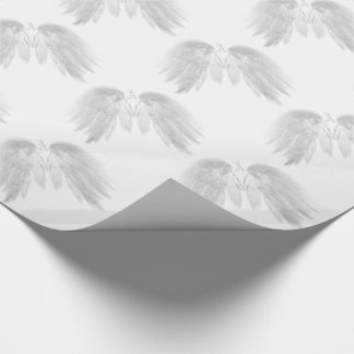 ANGEL WINGS Monogram White Wrapping Paper