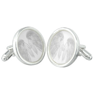 ANGEL WINGS White - Gray Touched Feathers - Cufflinks