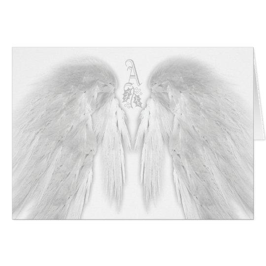 ANGEL WINGS White Heavenly Holiday Monogram Card