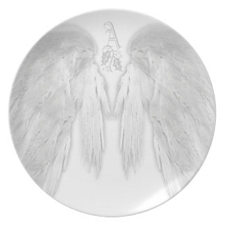 ANGEL WINGS White Heavenly Holly Monogram Party Plates