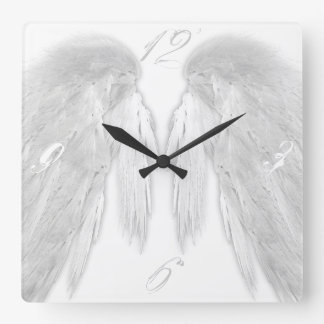 ANGEL WINGS White Square Wall Clock