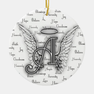 Angel Wings with Positive Words Monogram A Christmas Ornament