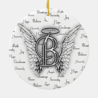 Angel Wings with Positive Words Monogram B Christmas Ornament