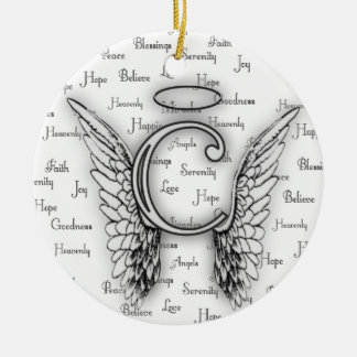 Angel Wings with Positive Words Monogram C Christmas Ornament