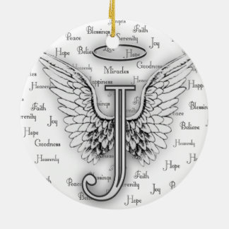 Angel Wings with Positive Words Monogram J Christmas Ornament
