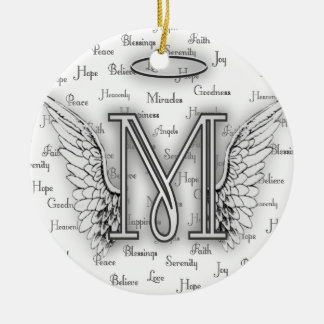 Angel Wings with Positive Words Monogram L Round Ceramic Decoration