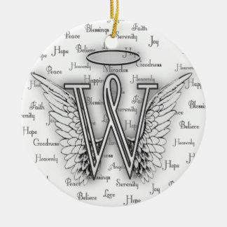 Angel Wings with Positive Words Monogram W Christmas Ornament