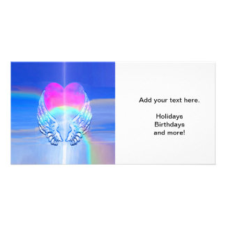 Angel Wings Wrapped Around a Heart Customized Photo Card