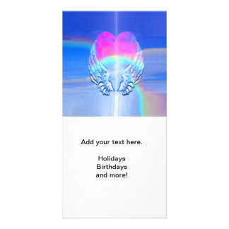 Angel Wings Wrapped Around a Heart Personalised Photo Card