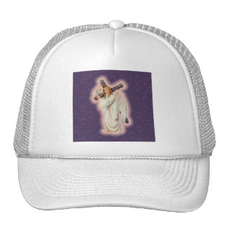 Angel With A Floral Cross and Pink Glowing Halo Cap