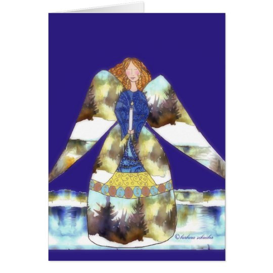 angel with candle, blue blackground card
