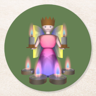 angel with candles round paper coaster