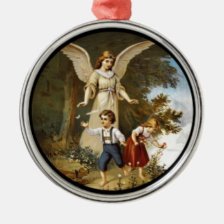 Angel with Children on a Cliff Silver-Colored Round Decoration