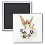Angel With Cross And Clematis Flower Square Magnet