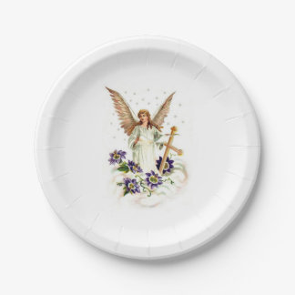 Angel With Cross And Clematis Flowers 7 Inch Paper Plate