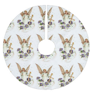 Angel With Cross And Clematis Flowers Brushed Polyester Tree Skirt