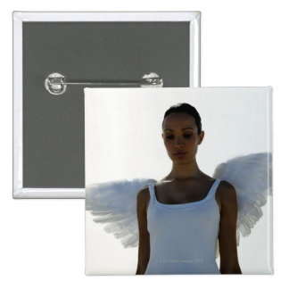 Angel with eyes closed 15 cm square badge