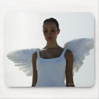 Angel with eyes closed mouse pad