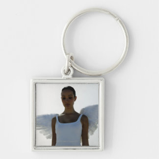 Angel with eyes closed Silver-Colored square key ring