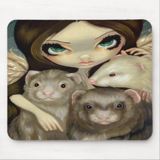 """Angel with Ferrets"" Mousepad"
