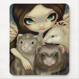 Angel with Ferrets Mousepad
